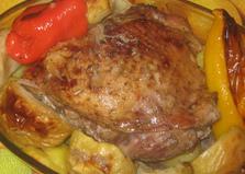 Индейка запеченная с овощами и яблоками (пошаговый фото рецепт)