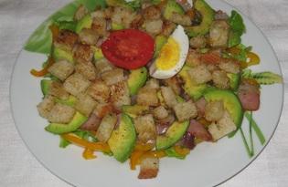 Салат с беконом, болгарским перцем и авокадо (пошаговый фото рецепт)