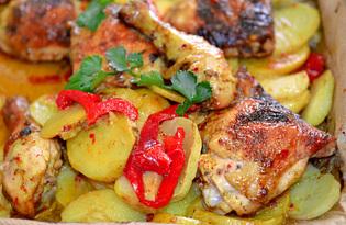 Окорочка в духовке с овощами (пошаговый фото рецепт)