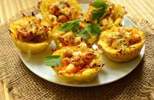 Картофельные тарталетки с курицей и морковью (пошаговый фото рецепт)