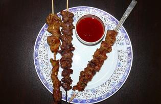 Тайские шашлычки из куриных сердечек и желудков (пошаговый фото рецепт)