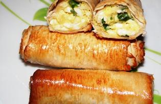 Пирожки из лаваша с яйцом и зеленым луком (пошаговый фото рецепт)