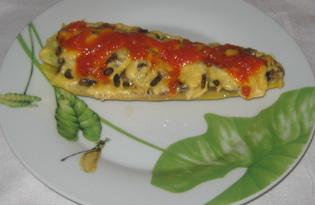 Кабачок фаршированный грибами под сыром (пошаговый фото рецепт)