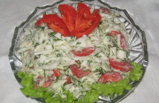 Салат с белокочанной капустой, помидорами и сметаной (пошаговый фото рецепт)