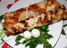 Блины с копченым сыром и творогом (пошаговый фото рецепт)