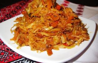 Тушеная капуста с болгарским перцем и зеленью (пошаговый фото рецепт)