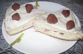 Бисквитный торт с консервированной клубникой (пошаговый фото рецепт)