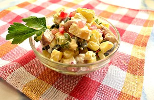 Салат с сельдью и гранатом (пошаговый фото рецепт)
