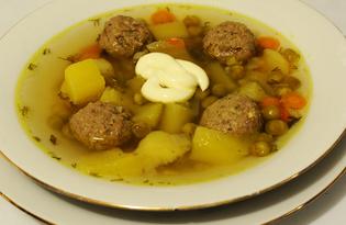 Суп с фрикадельками и зеленым горошком (пошаговый фото рецепт)