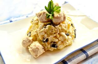 Салат с маслинами и шариками из куриного филе (пошаговый фото рецепт)