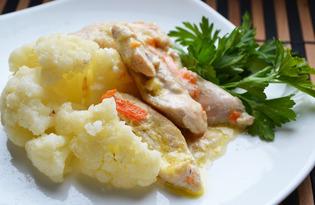 Цветная капуста с курицей в соусе (пошаговый фото рецепт)