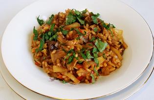 Тушеная капуста с белыми грибами и рисом (пошаговый фото рецепт)