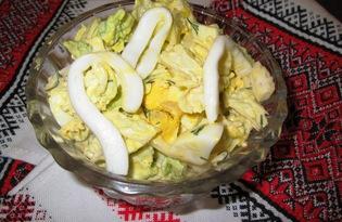 Салат с пекинской капустой и кальмаром (пошаговый фото рецепт)