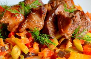 Говядина на овощной подушке (пошаговый фото рецепт)