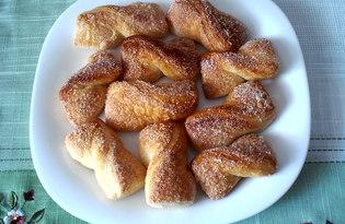 """Печенье """"Бантики"""" из слоеного дрожжевого теста (пошаговый фото рецепт)"""