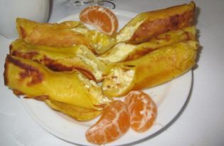 Сладкие блины с творогом и мандарином (пошаговый фото рецепт)