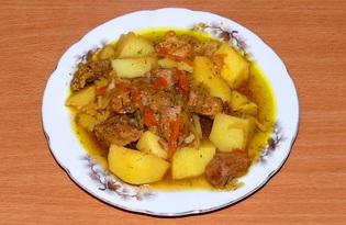 Свинина с картофелем в казане (пошаговый фото рецепт)