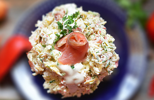 Салат с сёмгой и сыром (пошаговый фото рецепт)