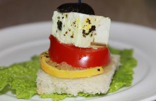 Закусочные бутерброды с брынзой (пошаговый фото рецепт)