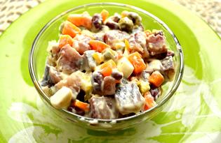 Салат с сельдью и фасолью (пошаговый фото рецепт)