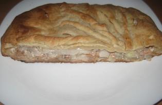 Пирог из слоеного теста с горбушей и маринованным луком (пошаговый фото рецепт)