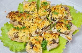 Мясо с грибами и сыром в духовке (пошаговый фото рецепт)