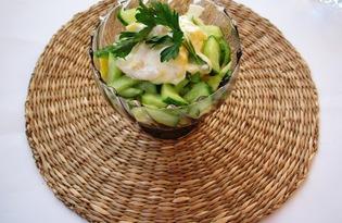 Легкий салат с кальмарами (пошаговый фото рецепт)