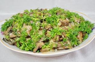 Жареные грибы с зеленью (пошаговый фото рецепт)