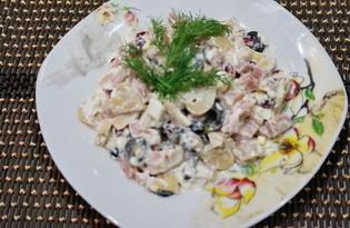 Салат из ветчины, граната и грибов (пошаговый фото рецепт)