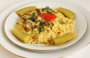 Рисово - пшенная каша с грибами (пошаговый фото рецепт)