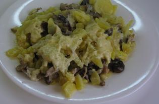 Картофель с грибами под соусом в мультиварке (пошаговый фото рецепт)