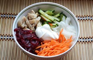 """Салат с курицей, морковью и свеклой """"Козий огород"""" (пошаговый фото рецепт)"""