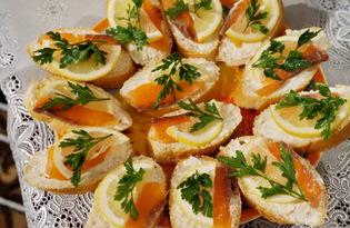 Бутерброды с красной рыбой и сливочным сыром (пошаговый фото рецепт)