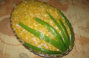 """Салат с колбасой и сыром """"Кукуруза"""" (пошаговый фото рецепт)"""