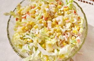 Салат из пекинской капустой, крабовыми палочками, кукурузой (пошаговый фото рецепт)