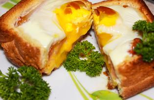 Яичница в хлебе (пошаговый фото рецепт)