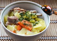 Тушеная картошка c ребрышками в казане (пошаговый фото рецепт)
