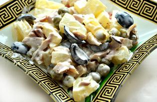 Куриный салат с ананасами и маслинами (пошаговый фото рецепт)