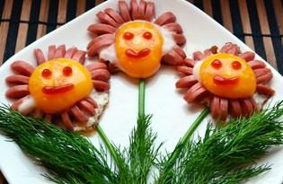 """Яичница с сосисками """"Для любимых"""" (пошаговый фото рецепт)"""