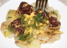 Запеченный картофель с фаршем под сыром (пошаговый фото рецепт)