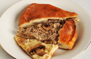 Пирог из рыбных консервов с грибами (пошаговый фото рецепт)