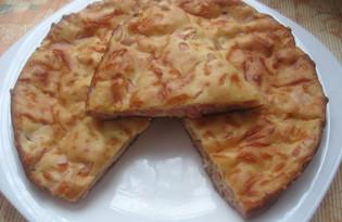 Заливной пирог с колбасой (пошаговый фото рецепт)