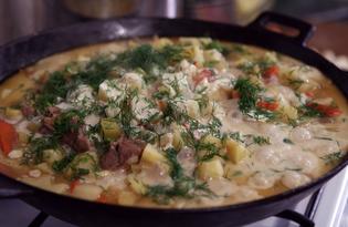 Тушеный картофель со свининой (пошаговый фото рецепт)