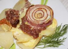 Картофель со свиным фаршем и луком в духовке (пошаговый фото рецепт)