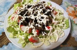 Салат из пекинской капусты с грибами и крабовыми палочками (пошаговый фото рецепт)