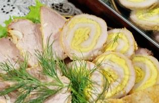 Мясной рулет с омлетом (пошаговый фото рецепт)