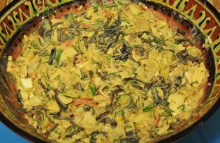 Салат из морской капусты и крабовых палочек с яйцом «Запахи моря» (пошаговый фото рецепт)