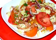 Салат с хурмой и помидорами (пошаговый фото рецепт)