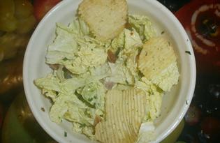 Салат с пекинской капустой и копчеными ребрами «Нежнейший» (пошаговый фото рецепт)