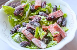 Салат из фасоли, пекинской капусты и сырокопченой колбасы (пошаговый фото рецепт)